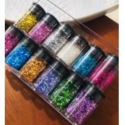 Kit pacote com 12 glitter flocado BR