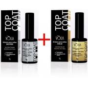 KV08 Kt top coat glitter prata volia + top coat glitter gold volia top cat glitter volia cosmeticos