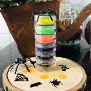 Torre glitter holográfico halloween para decoração de unhas + brindes exclusivos