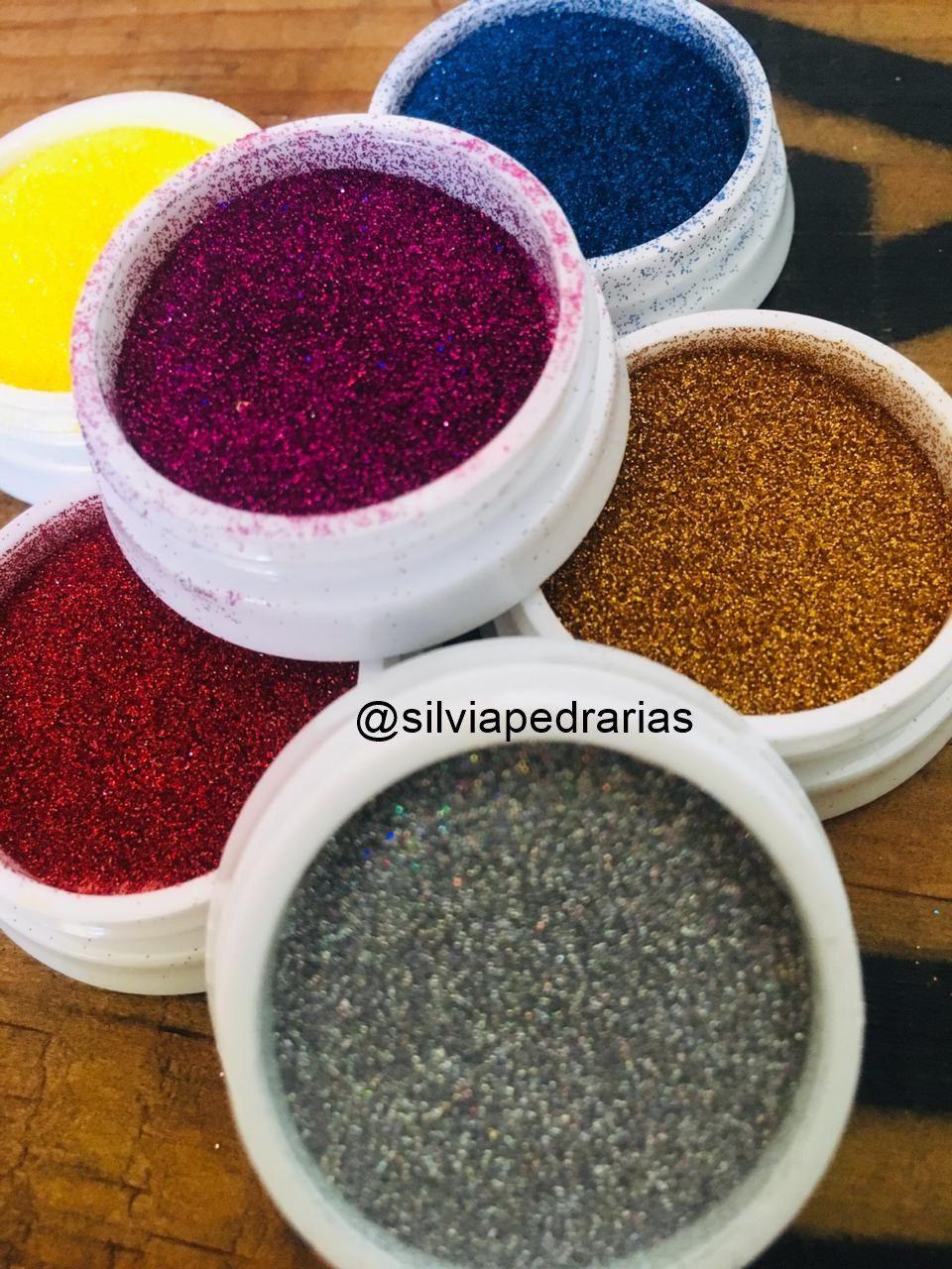 Caixa com 06 glitter fino Helen Color tons escuros (ref04)  - Sílvia Pedrarias & Cia
