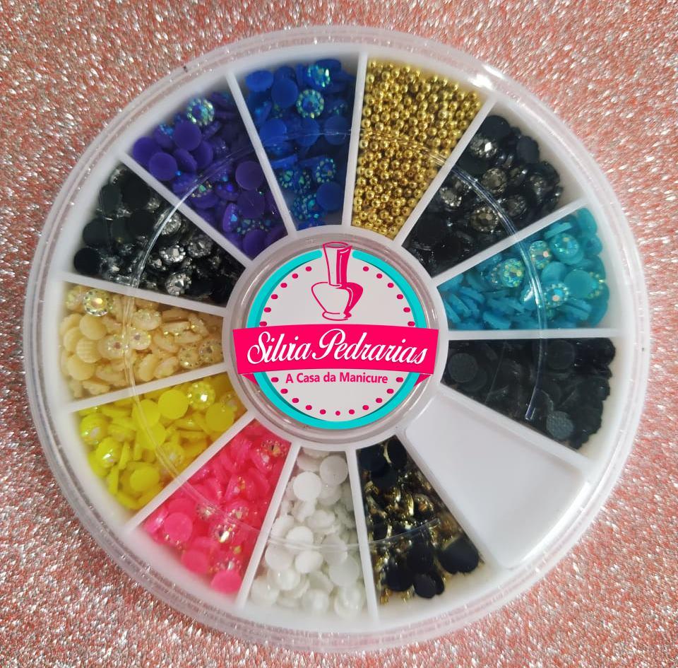 Disco margarida 3mm e caviar pedrarias (pedraria)  - Sílvia Pedrarias & Cia