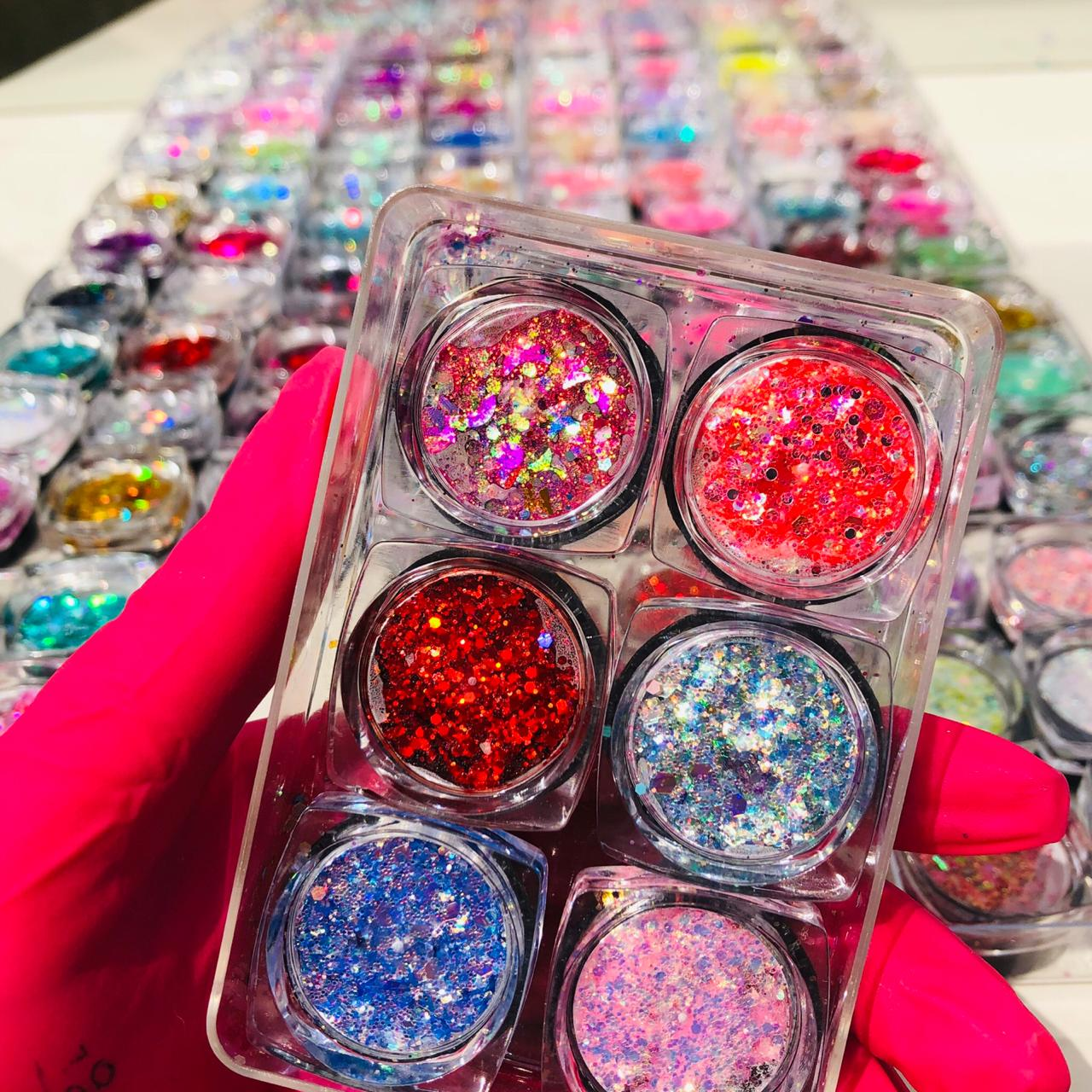 Glitter em gel para encapsulamento; com 06 unidades.   - Sílvia Pedrarias & Cia