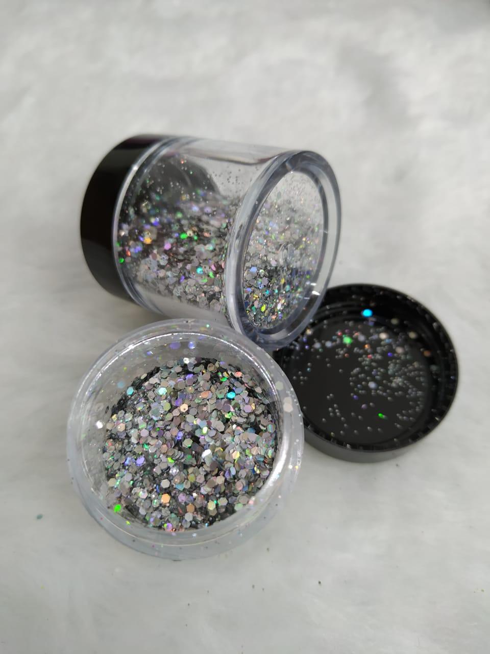 Glitter flocado já no potinho  - Sílvia Pedrarias & Cia