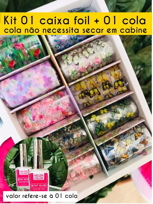 Kit 01 caixa foil floral e borboletas + 01 cola não necessita uso de cabine  - Sílvia Pedrarias & Cia