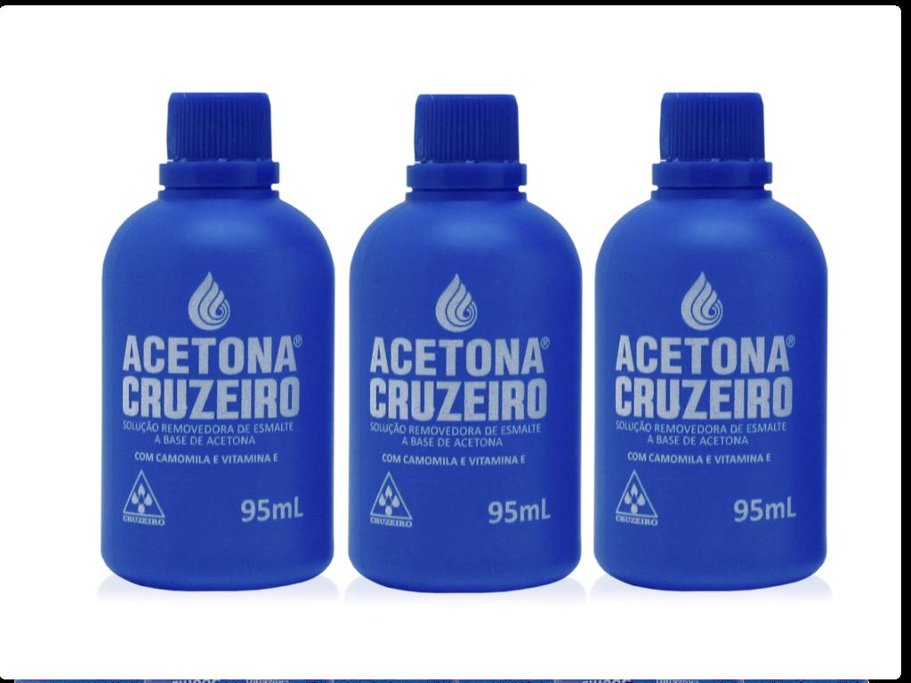 Kit 03 acetonas CRUZEIRO 95ml  - Sílvia Pedrarias & Cia