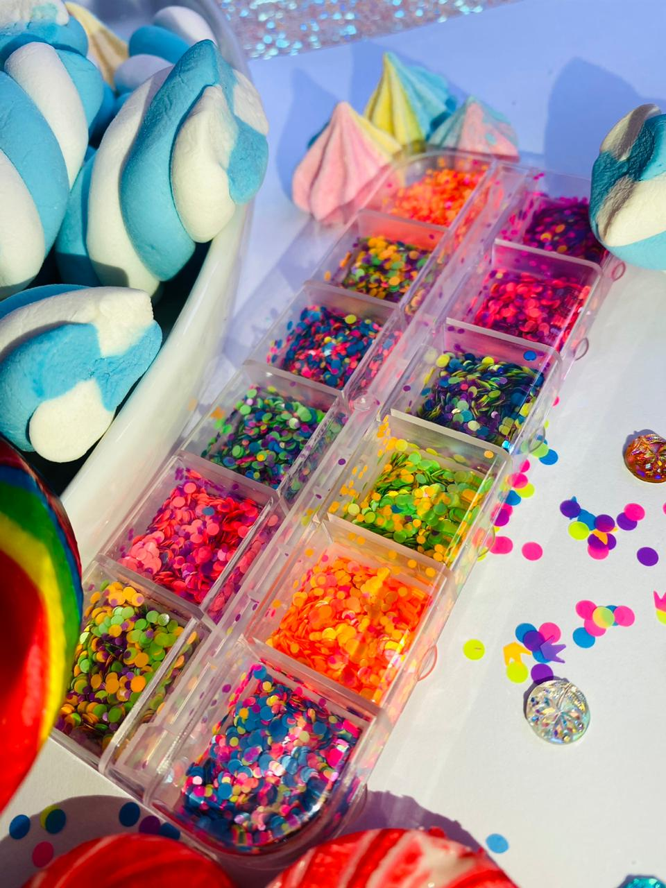 Kit 12 cores glitter chiclete candy  - Sílvia Pedrarias & Cia