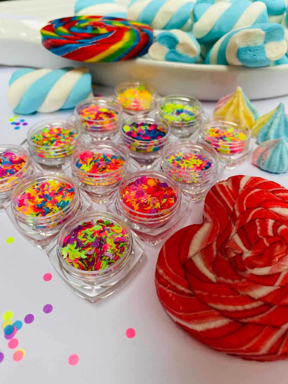 kit 12 glitter suspiro candy  - Sílvia Pedrarias & Cia