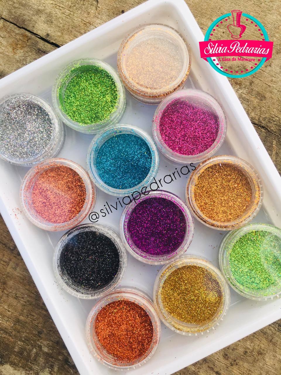 Kit caixinha 12 glitter ultrafino (JeX)  - Sílvia Pedrarias & Cia