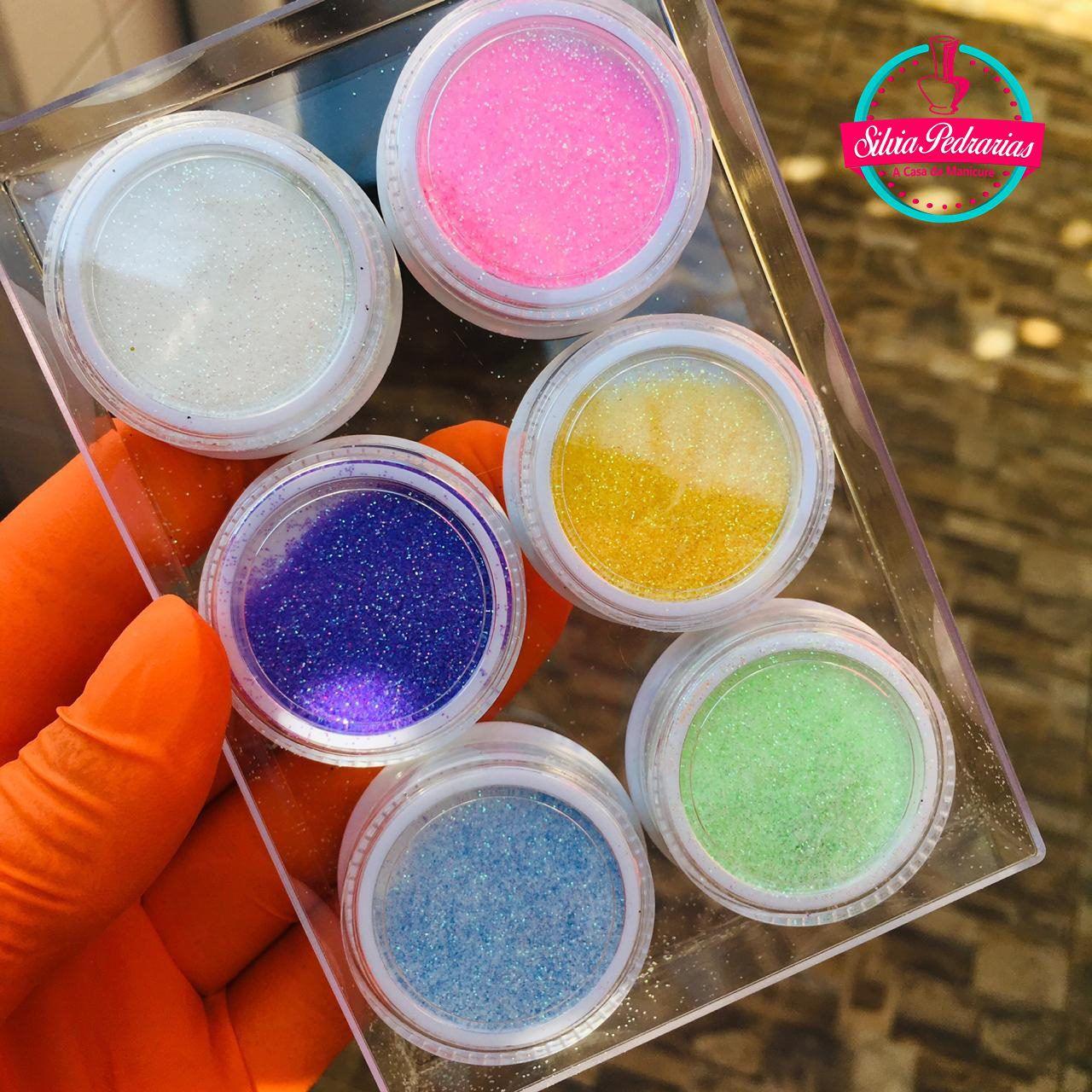 Kit com 06 glitter ultrafino Helen color tons claros (ref01)  - Sílvia Pedrarias & Cia