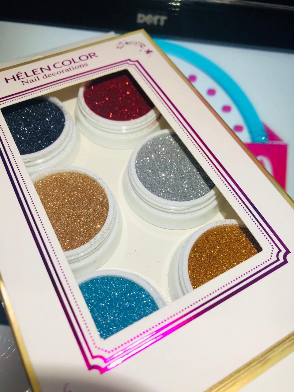 Kit com 06 glitter novos tons Helen Color (ref03)  - Sílvia Pedrarias & Cia
