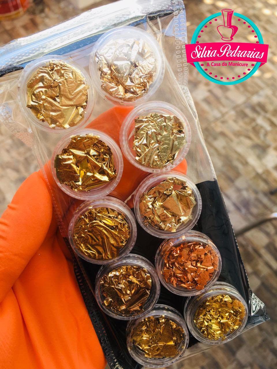 Kit com 10 folhas de ouro   - Sílvia Pedrarias & Cia