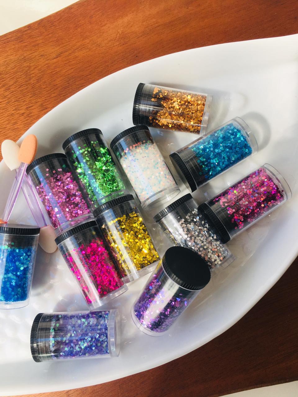 Kit pacote com 12 glitter flocado BR  - Sílvia Pedrarias & Cia