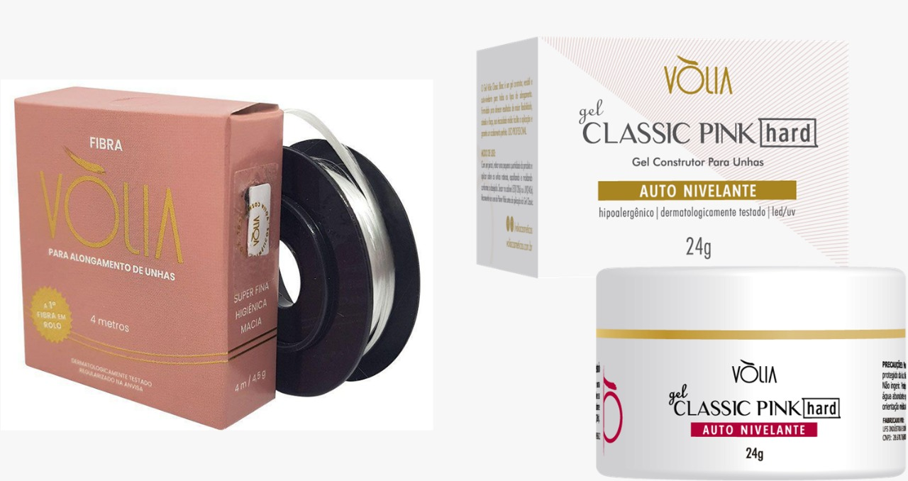 KV17 Kit volia par perfeito 01 gel pink hard + 01 fibra volia cosmeticos vòlia  - Sílvia Pedrarias & Cia
