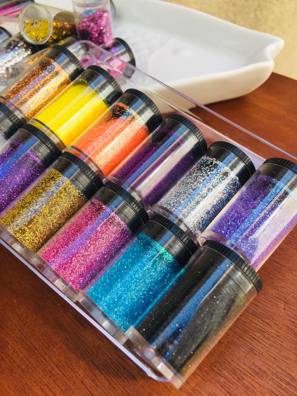 Pacote com 12 glitter fino BR  - Sílvia Pedrarias & Cia