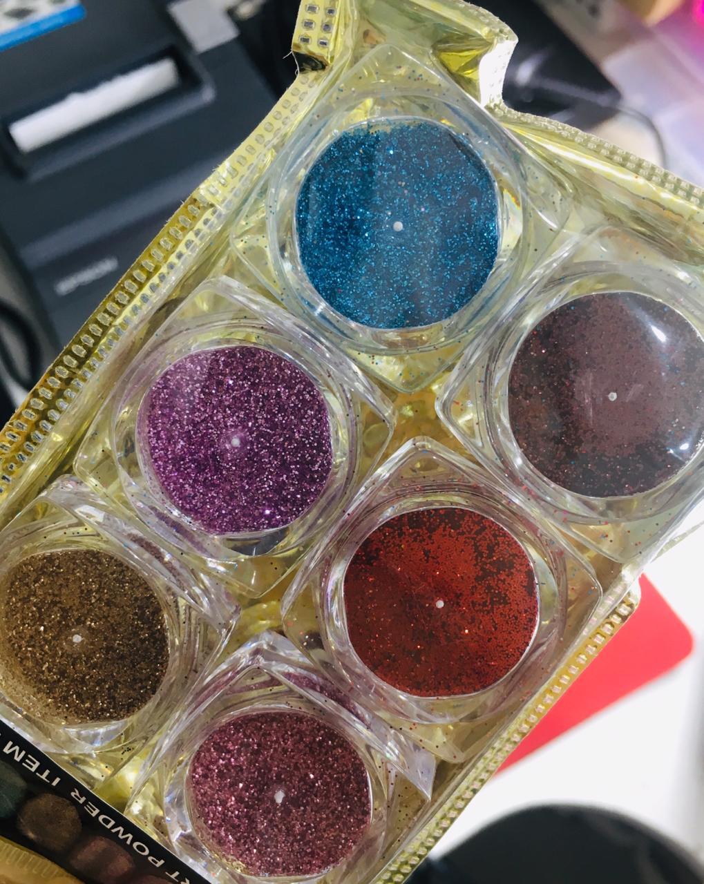 Pacotinho com 06 glitter ultrafino  - Sílvia Pedrarias & Cia