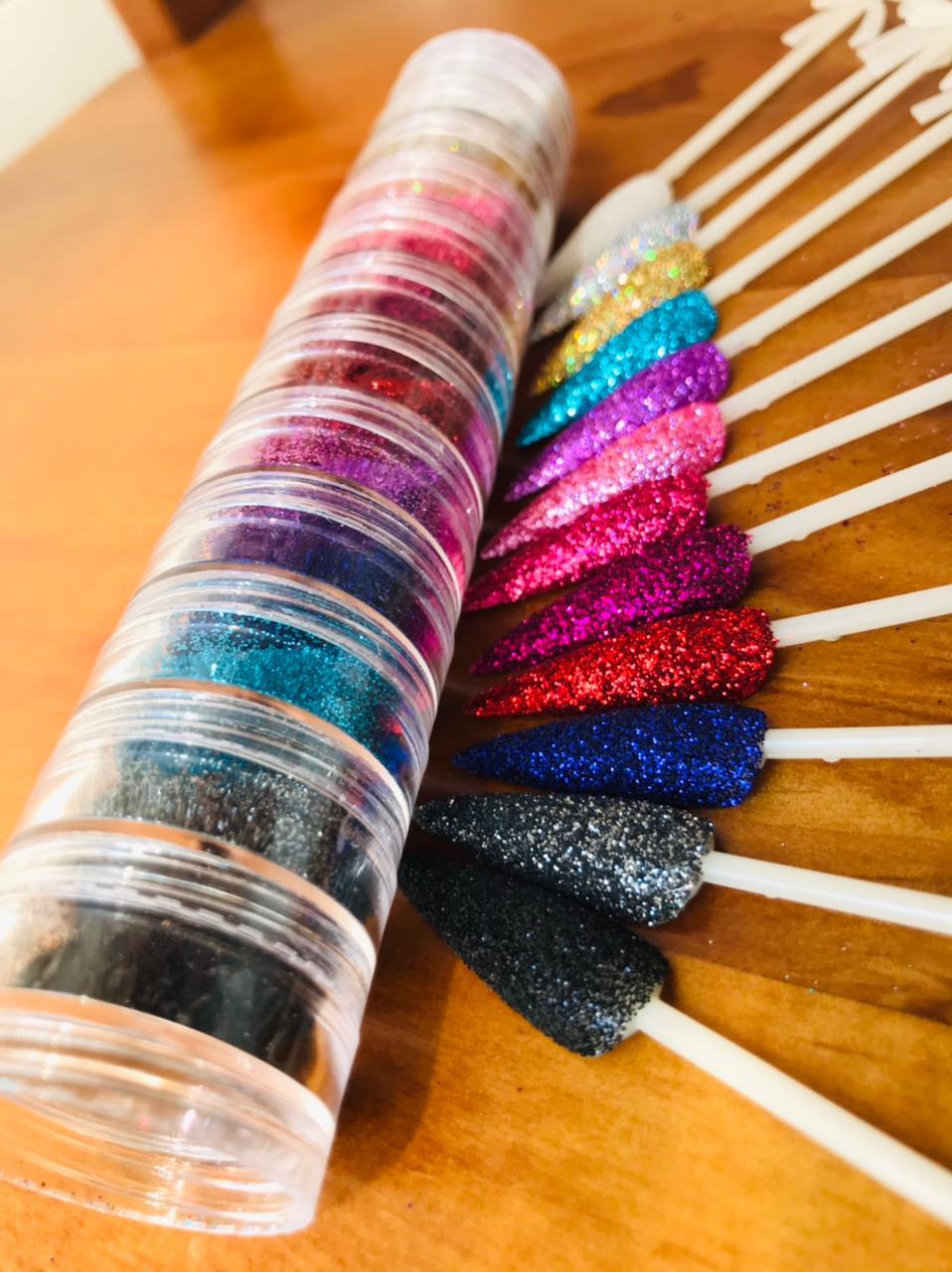 Torre I LOVE GLITTER torre com 12 cores glitter fino  - Sílvia Pedrarias & Cia