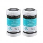 Kit 2 Refil Filtro Purificador Carbon Block 5'' Hex H5