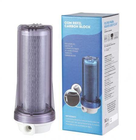Filtro Agua 9 3/4 Ponto De Uso Bbi Pou 230 Carvão Ativado Remove Cloro + Refil  - SUPERFILTER