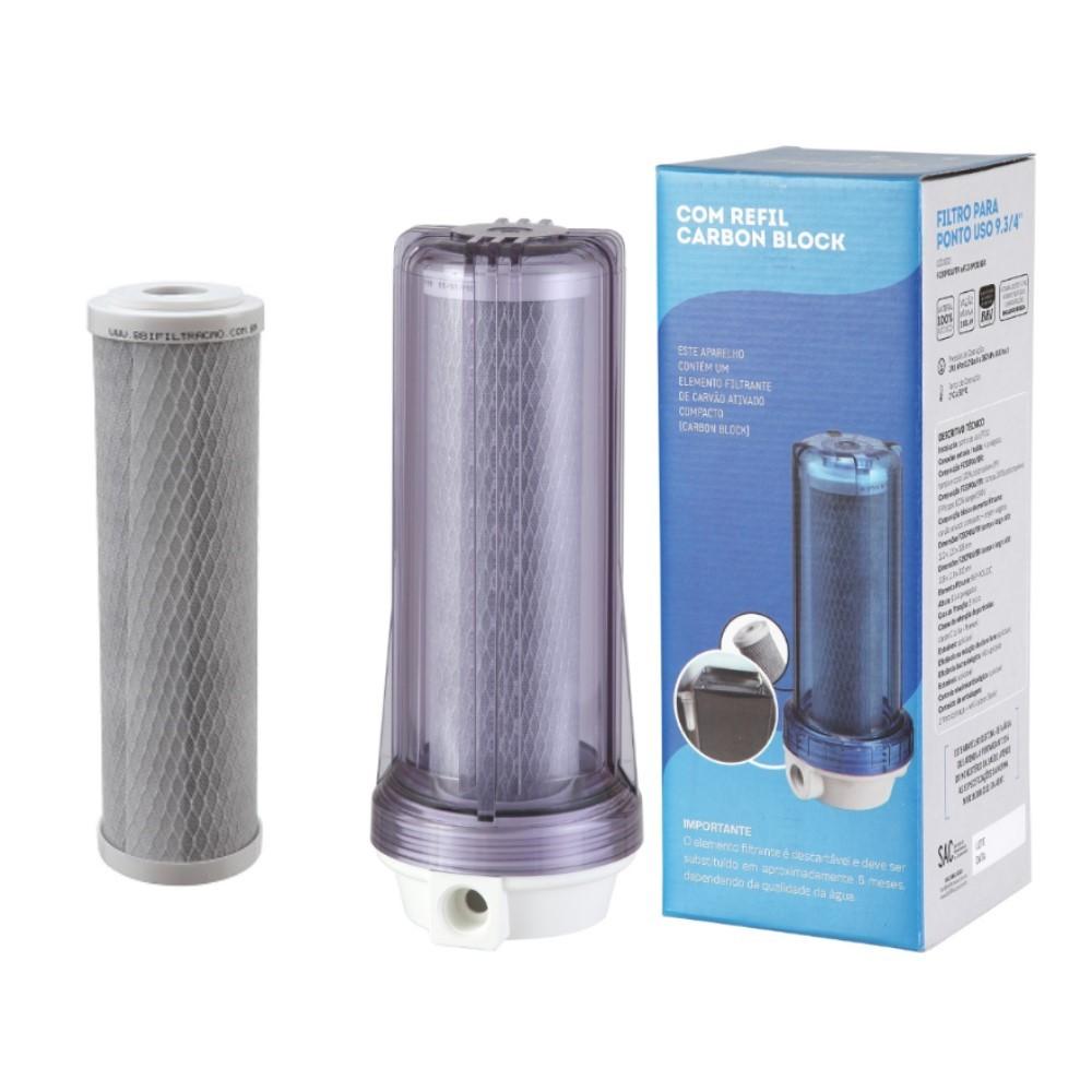 Filtro Agua 9 3/4 Ponto De Uso Bbi Pou 230 Carvão Ativado Remove Cloro + Refil