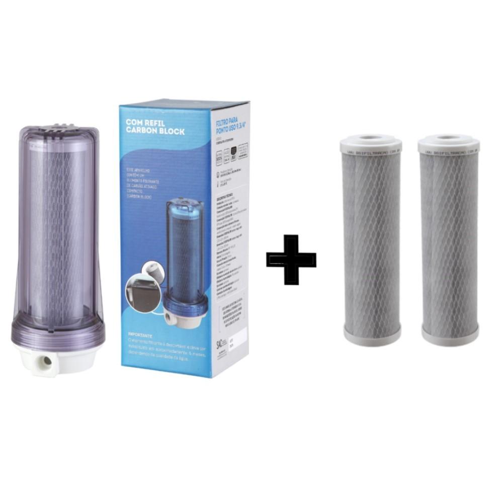 Filtro Agua 9 3/4 Ponto De Uso Pou Carvão Ativado Bbi F230pou Transparente + 2 Refis