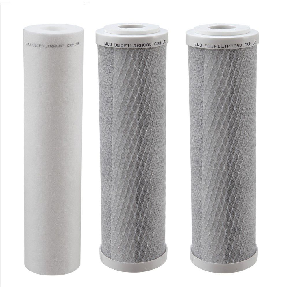 """Kit Filtro Triplo BBI 9.3/4"""" Branco PT230BR/T para Fabricação de Cerveja Artesanal Estágios de Filtragem em Polipropileno e Carbon Block + Chave + Torneira"""