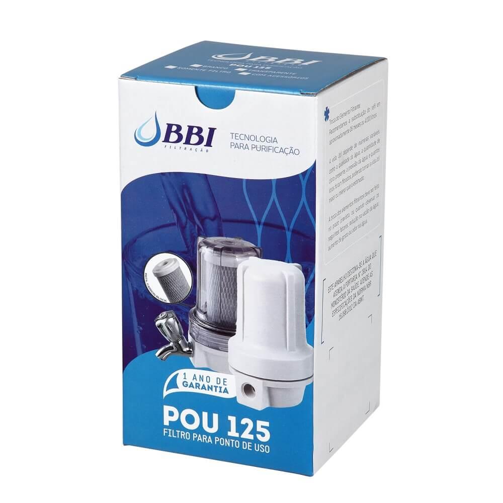 Filtro para Ponto de Uso BBI Transparente F125TR/COMP com Torneira de Metal Cromada