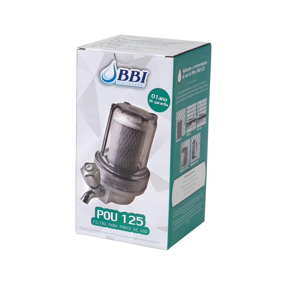 Filtro para torneira 5 POU 125 Transparente com torneira de metal cromada