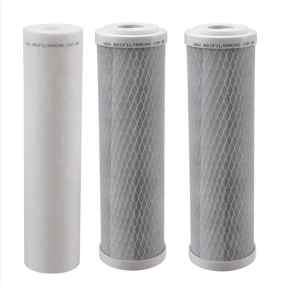 """Kit Filtro Triplo BBI 9.3/4"""" Transparente PT230TR para Fabricação de Cerveja Artesanal Estágios de Filtragem em Polipropileno e Carbon Block + Chave (sem Torneira)"""