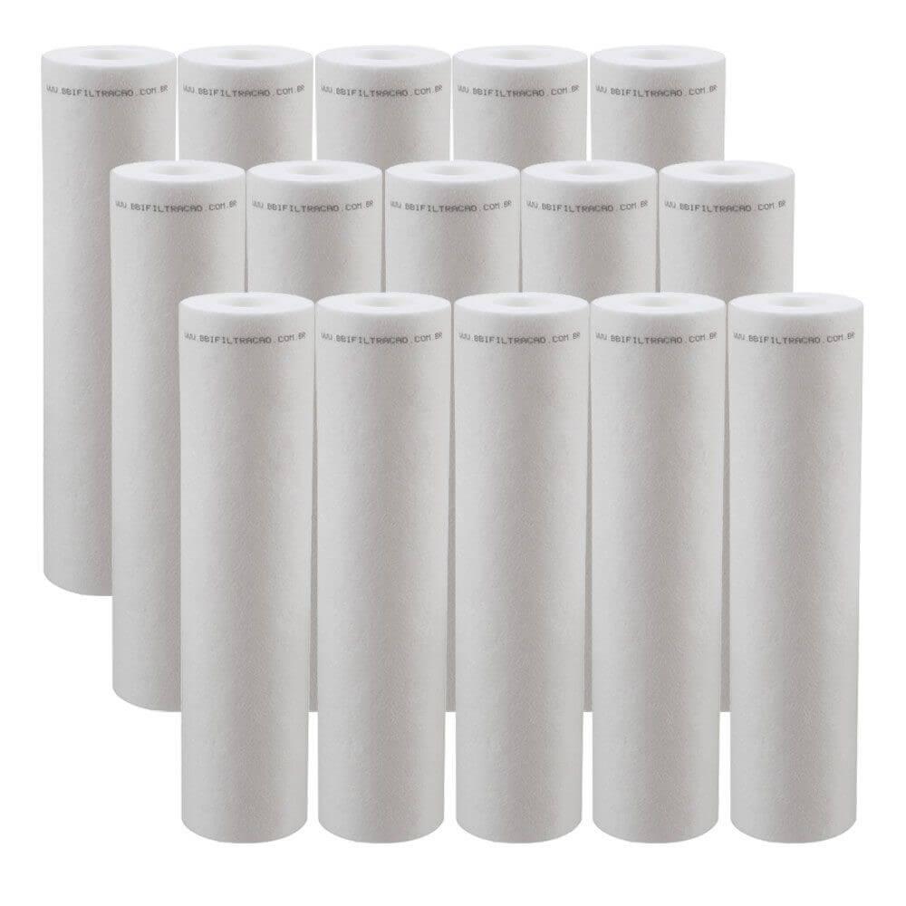 """Kit 15 Unidades Refil Filtro Polipropileno BBI 9""""3/4 PP10/20B"""