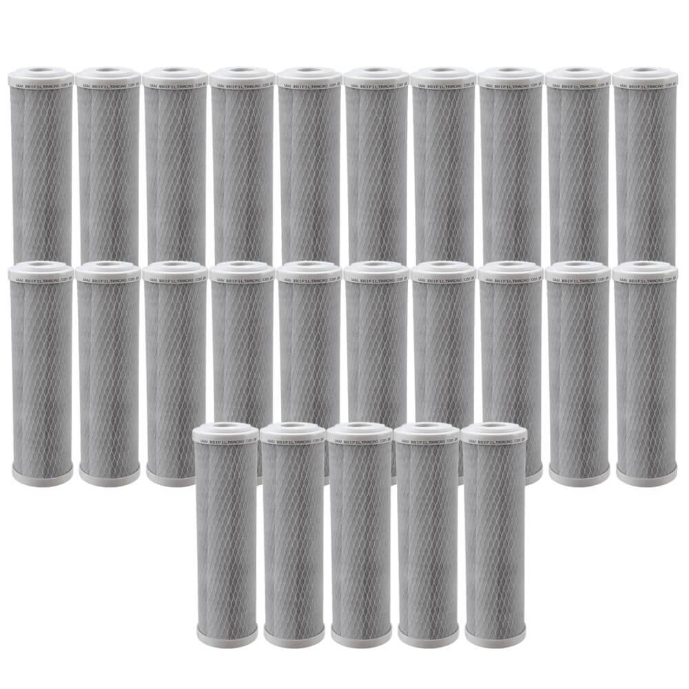"Kit 25 unidades Refil Filtro BBI Carbon Block Encaixe para Carcaças de 9.3/4"" x 2,5"" E230 Compatível Hoken, Acquastar, GoldFilter e outras"