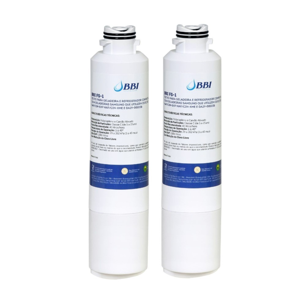 Kit 2 Filtro Interno BBI FS-1 Geladeira Refrigerador Samsung Haf-cin/exp Da29-00020b