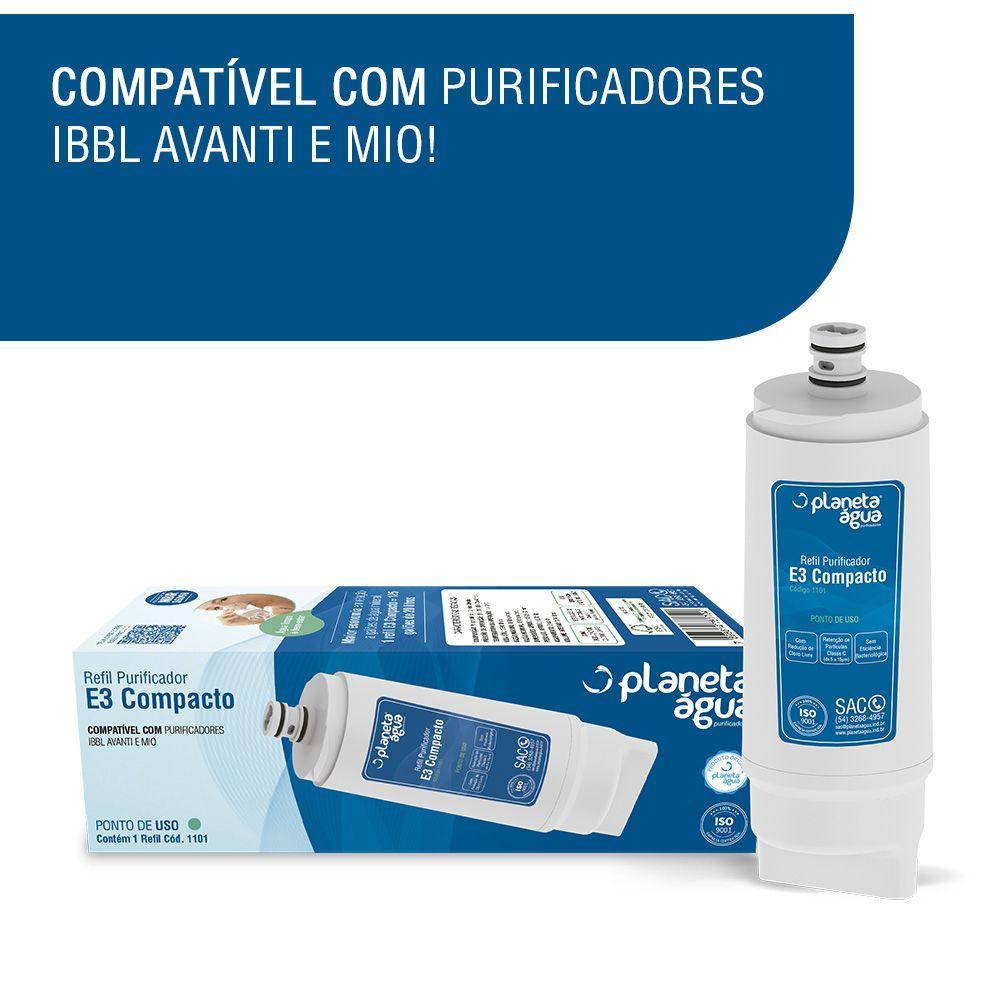 Kit 2 Unidades Refil Filtro Planeta Água E3 Compacto Compatível Purificador IBBL Avanti e Mio