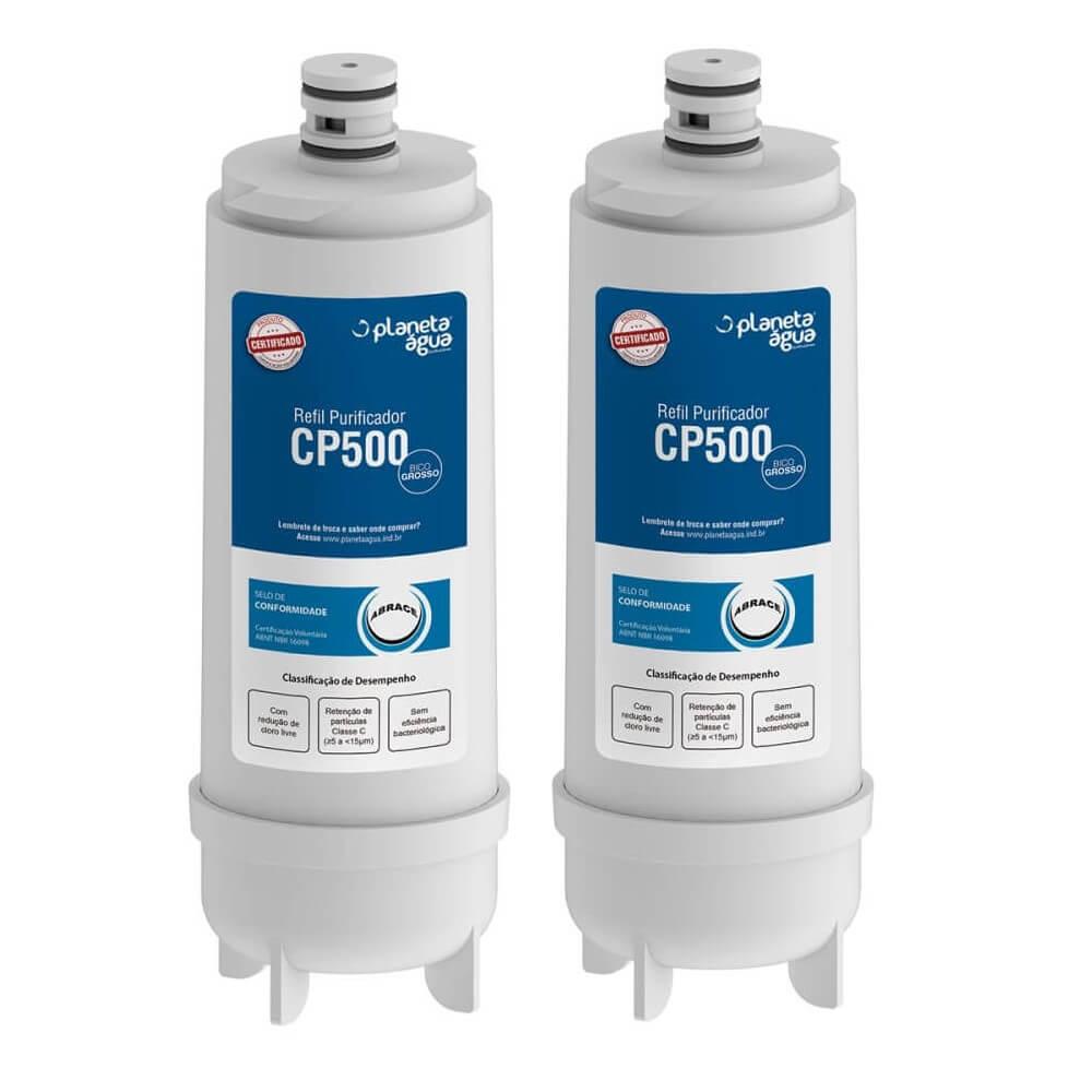 Kit 2 Unidades Refil Filtro Planeta Água 1080 Compatível com Purificador de Água Master Frio CP500 Rótulo Azul