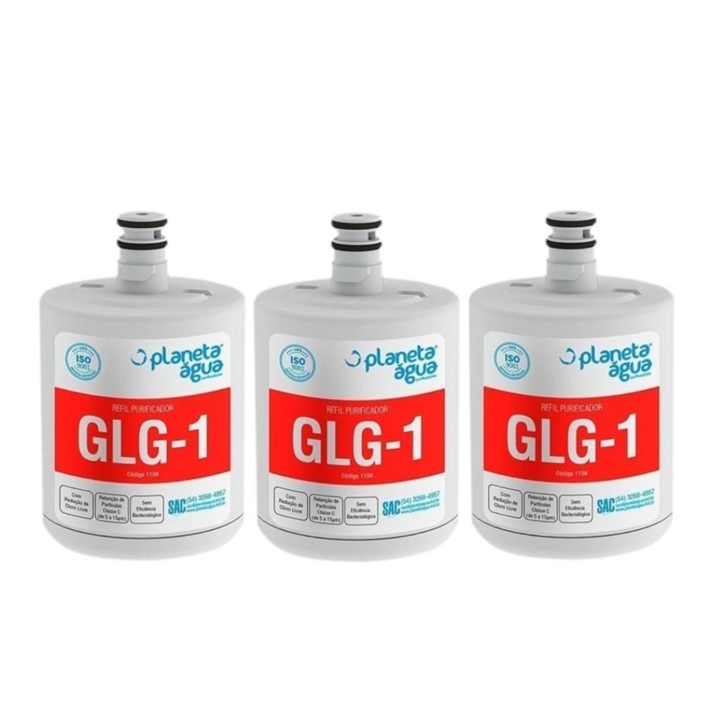 Kit 3 Refil Filtro Planeta Água compatível com Geladeira Refrigerador LG LT500P
