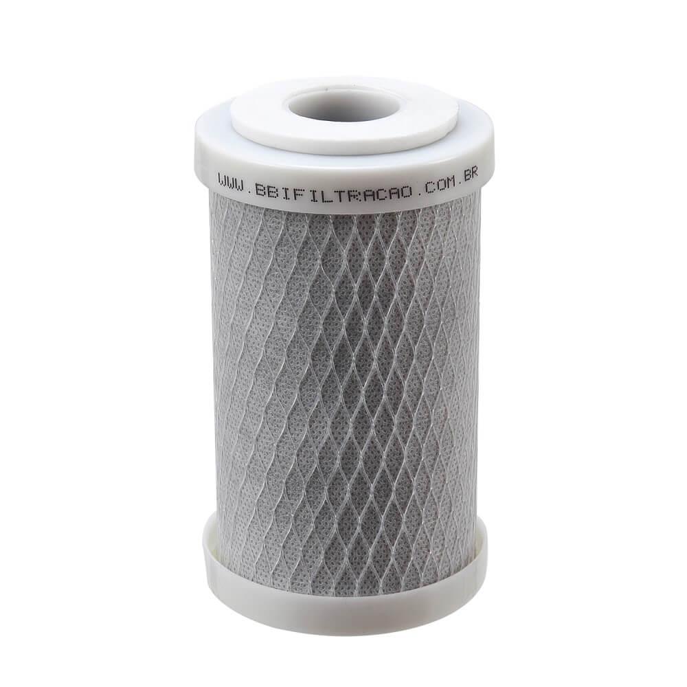 """Kit 4 Unidades Refil Filtro Carbon Block 5"""" x 2,5"""" - 125 com sistema de encaixe e arruela de vedação"""