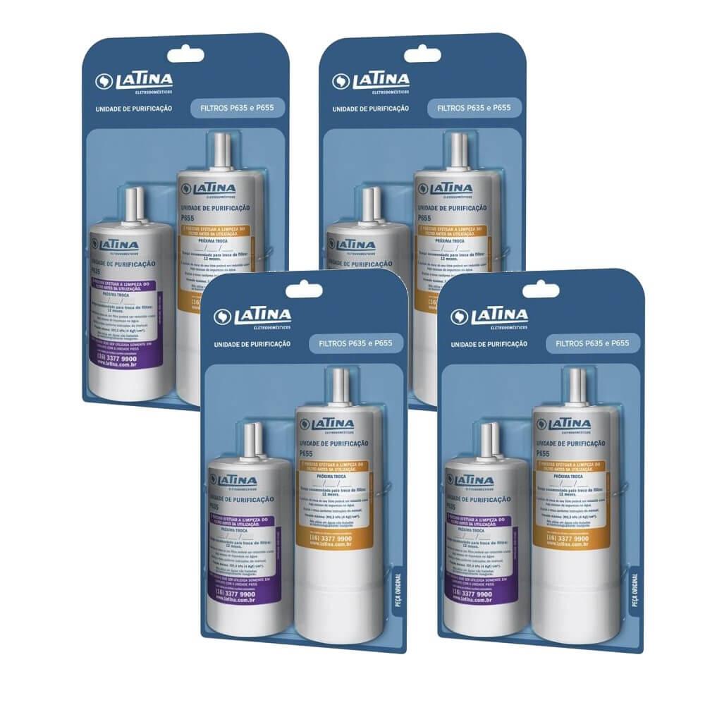 Kit 4 Unidades Refil Filtro Latina P635 e P655 Original Purificador Latina Mineralizer Sterilizer Vitasali e outros