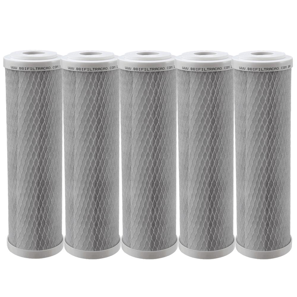 Kit 5 Unidades Refil Filtro BBI Carbon Block Encaixe para Carcaças de 9.3/4
