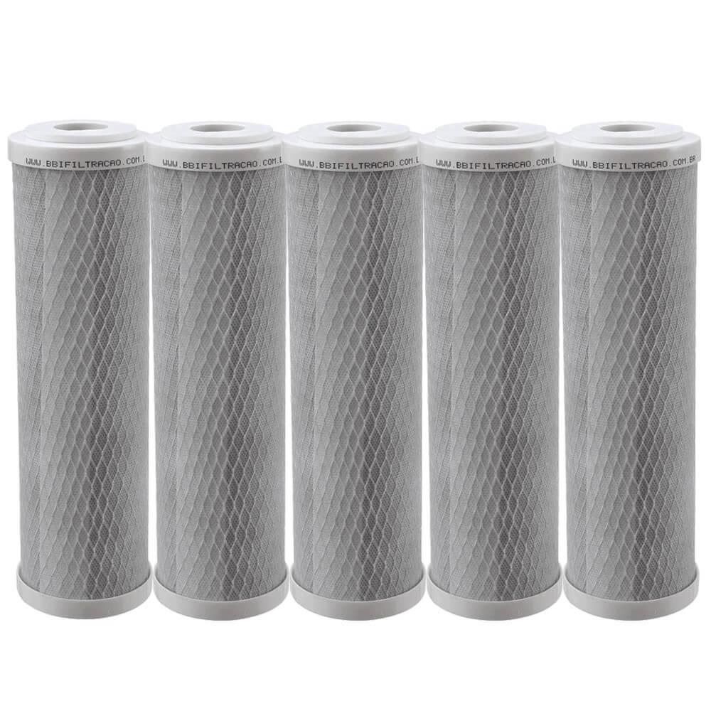 "Kit 5 Unidades Refil Filtro BBI Carbon Block Encaixe para Carcaças de 9.3/4"" x 2,5"" E230 Compatível Hoken, Acquastar, GoldFilter e outras"