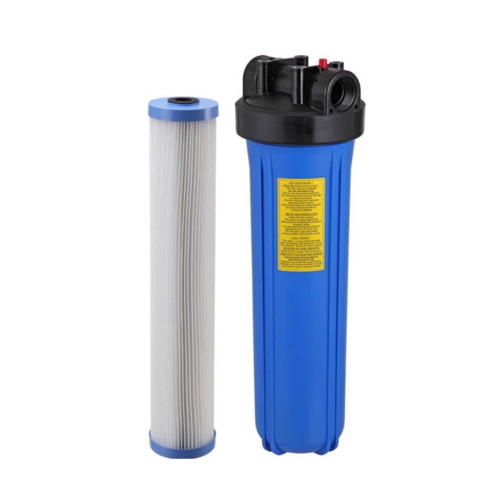 Kit Carcaça Filtro BIG Blue BBI 20 x 4,5 polegadas + Refil Filtro Plissado de Poliéster BBI Big Blue Lavável 20 x 4.1/2 + Chave e Suporte