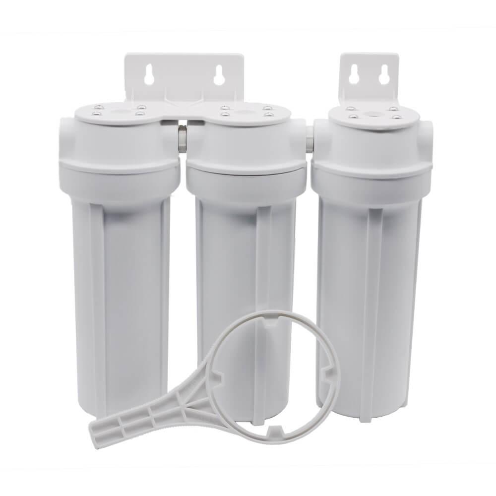 """Kit Filtro Triplo BBI 9.3/4"""" Branco PT230BR para Fabricação de Cerveja Artesanal Estágios de Filtragem em Polipropileno e Carbon Block + Chave (sem Torneira)"""