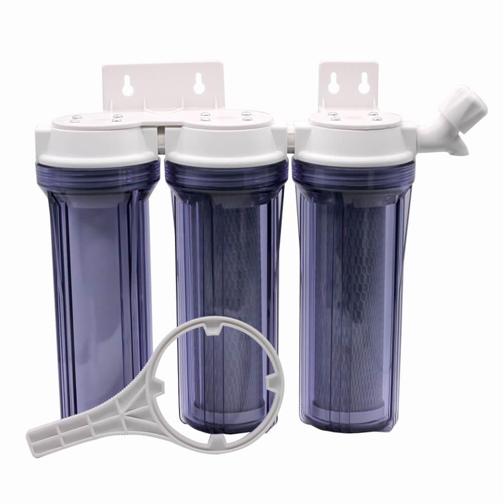 """KIt Filtro Triplo BBI 9.3/4""""  Transparentes PT230TR/T para Fabricação de Cerveja Artesanal Estágios de Filtragem em Polipropileno e Carbon Block + Chave + Torneira"""