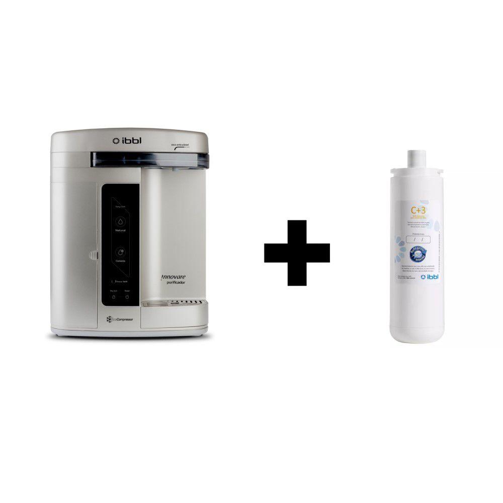 Purificador de Agua Gelada Refrigerado IBBL Innovare Prata 220v + Refil extra