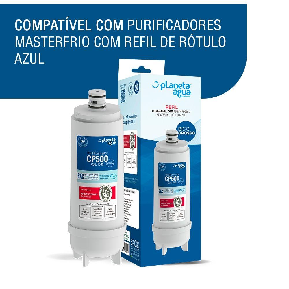 Refil Filtro Planeta Água 1080 compatível com Purificador de Água Master Frio CP500 Rótulo Azul