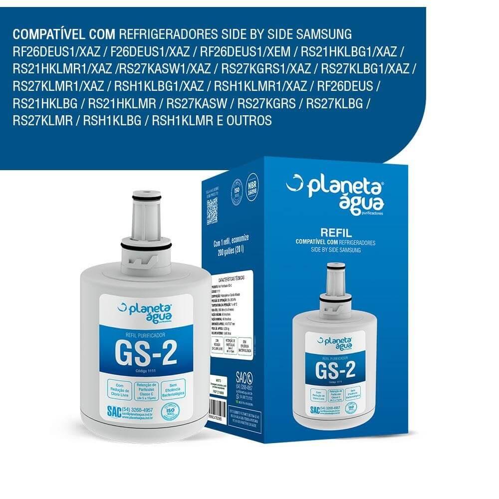 Refil Filtro Planeta Água compatível Refrigerador Geladeira Samsung Side By Side HAFIN2/EXP