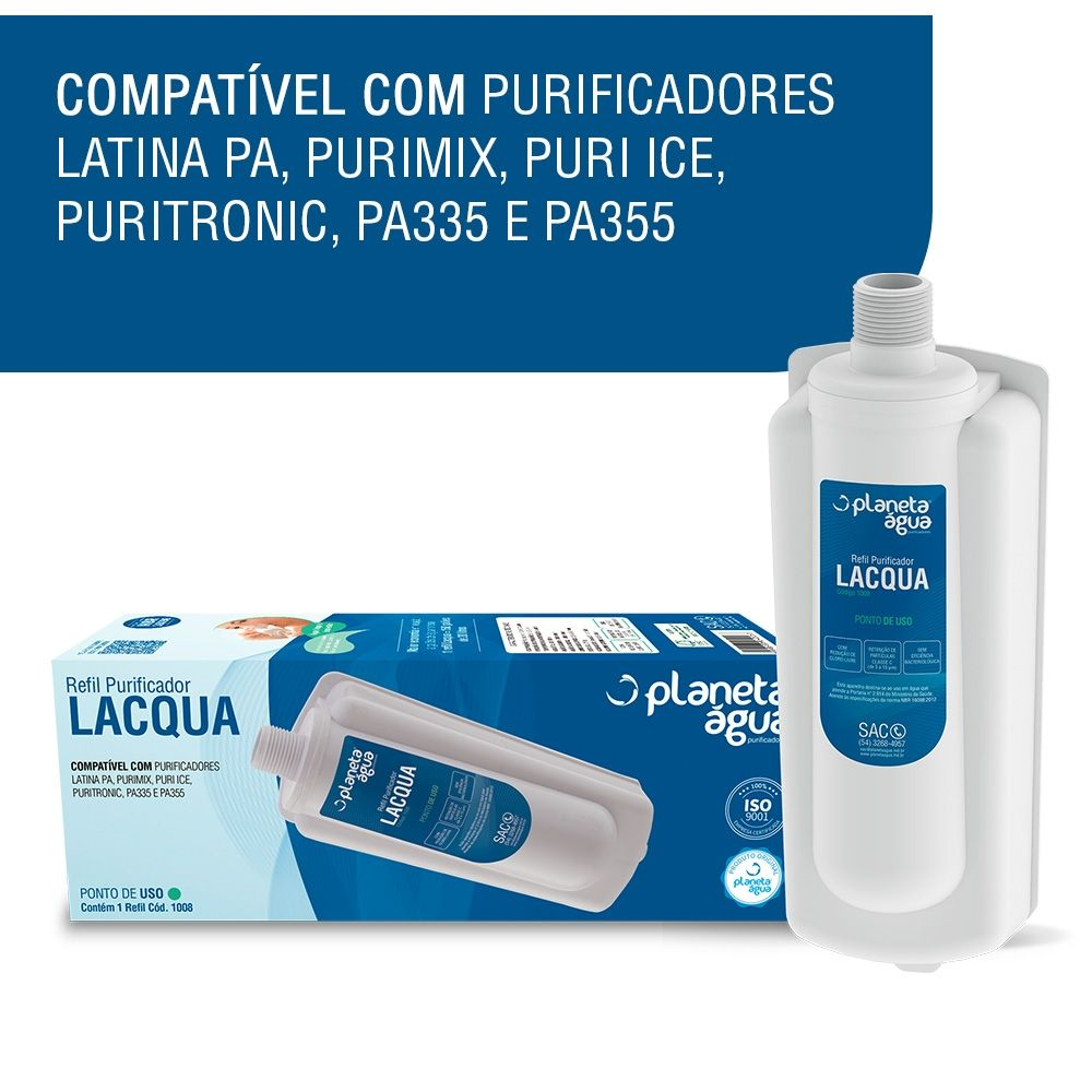 Refil Filtro Planeta Água Lacqua Compatível Purificador de Água Latina PA, Purimix, Puri Ice, Puritronic  - SUPERFILTER