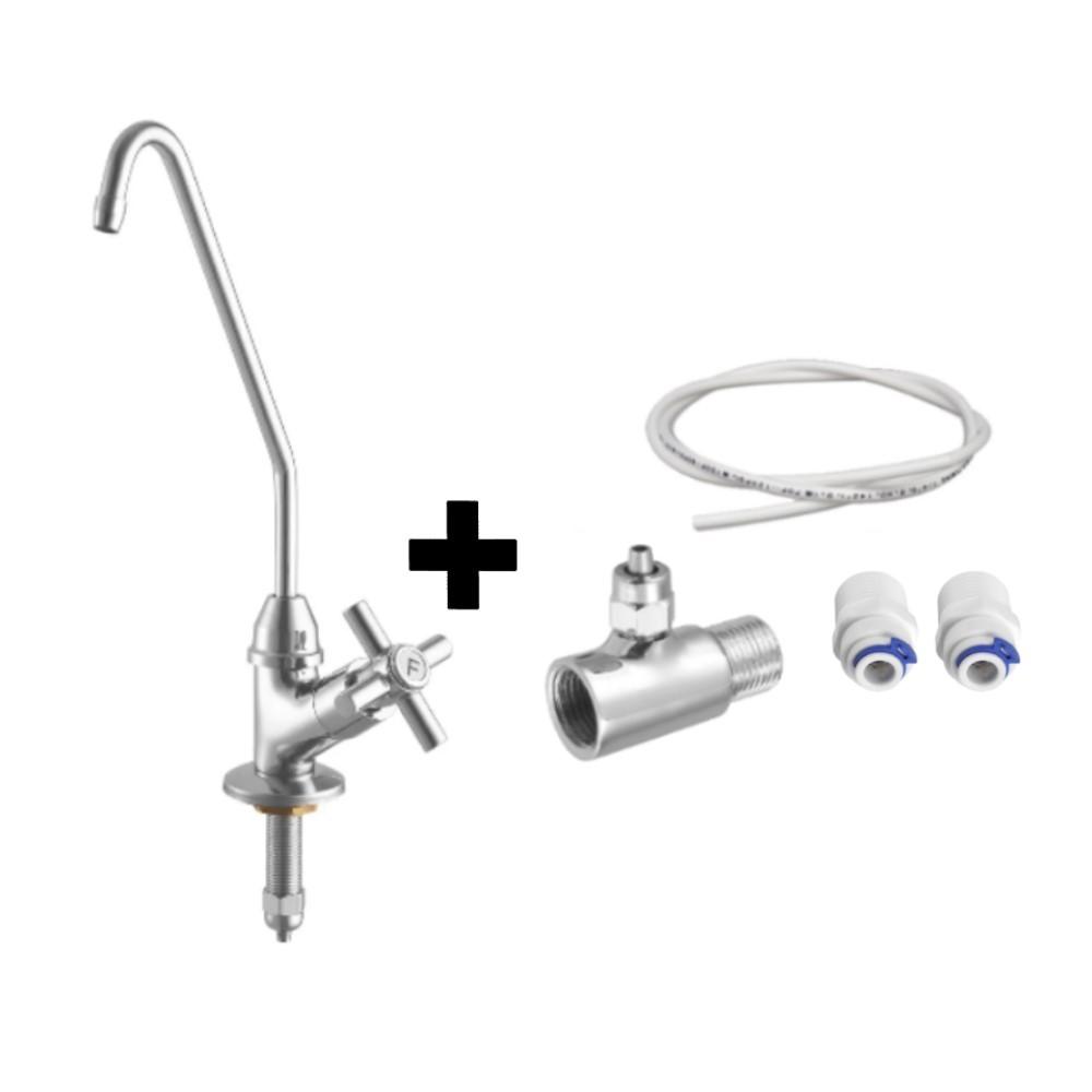 Torneira Purificador Faucet Bancada Mesa 1/4 De Volta + Kit Para Instalação Filtro Embaixo Da Pia