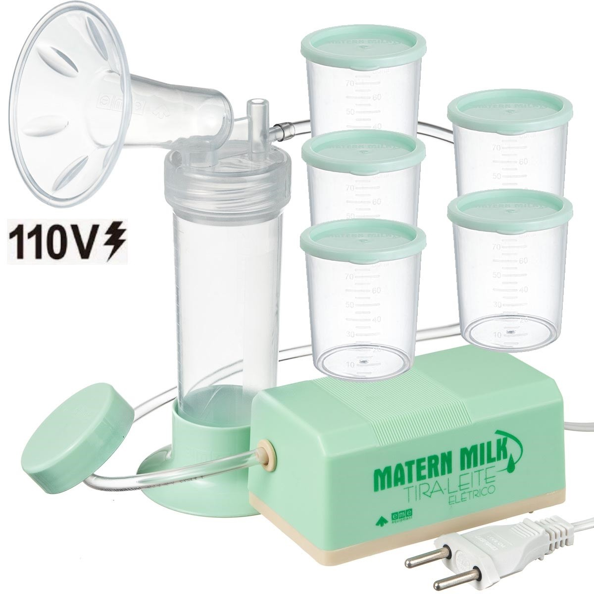 Bomba tira leite elétrico 110 V Verde - Matern Milk +5 Copos