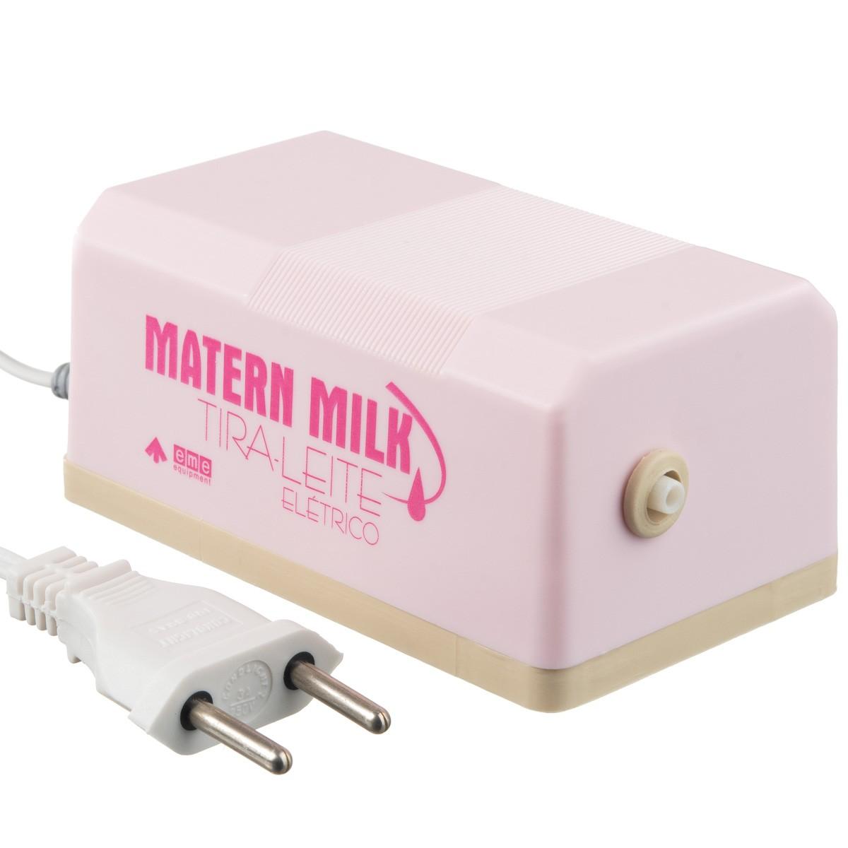 Bomba tira leite elétrico 220 V Rosa - Matern Milk +5 Copos