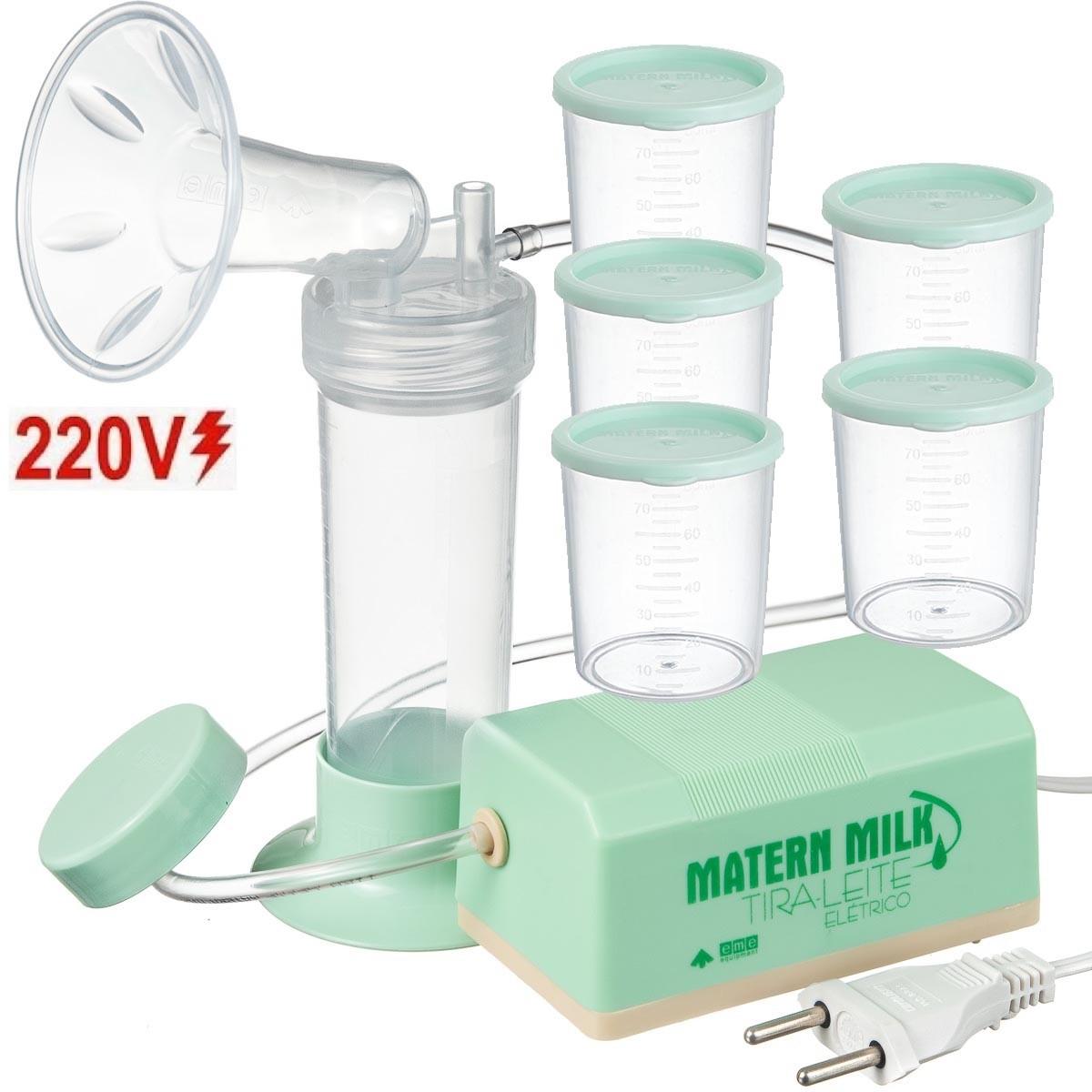 Bomba tira leite elétrico 220 V Verde - Matern Milk +5 Copos