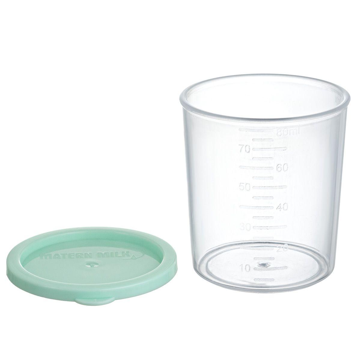 Copo de Aleitamento Materno Verde, 80 ml (com 4 unid). polipropileno atóxico,graduação de 10 em 10 ml  Matern Milk.
